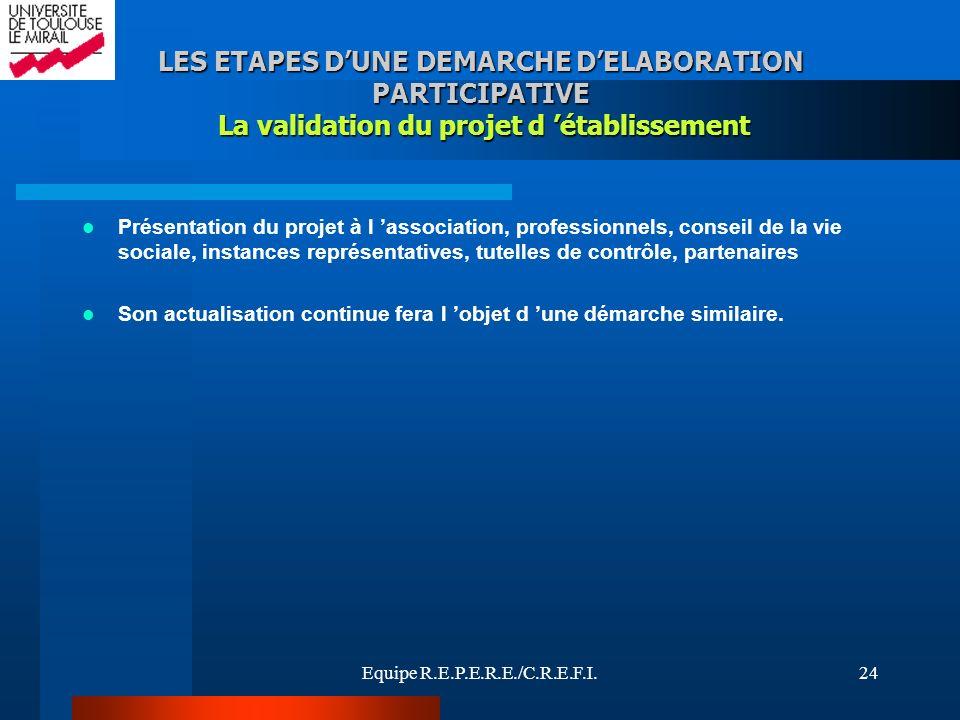 LES ETAPES D'UNE DEMARCHE D'ELABORATION PARTICIPATIVE La validation du projet d 'établissement