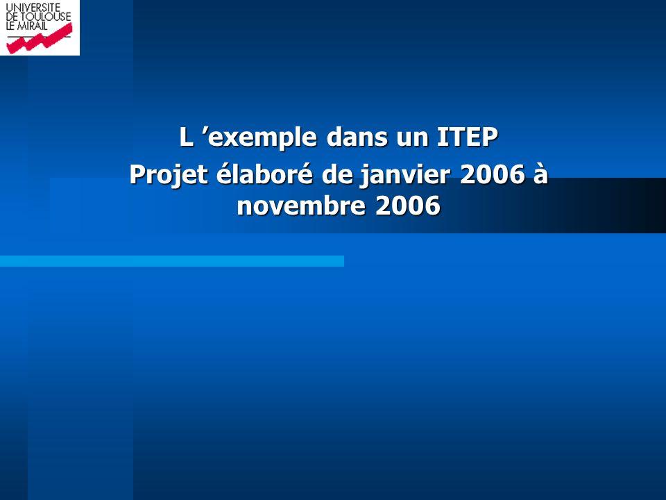 L 'exemple dans un ITEP Projet élaboré de janvier 2006 à novembre 2006