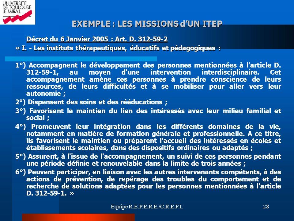 EXEMPLE : LES MISSIONS d'UN ITEP