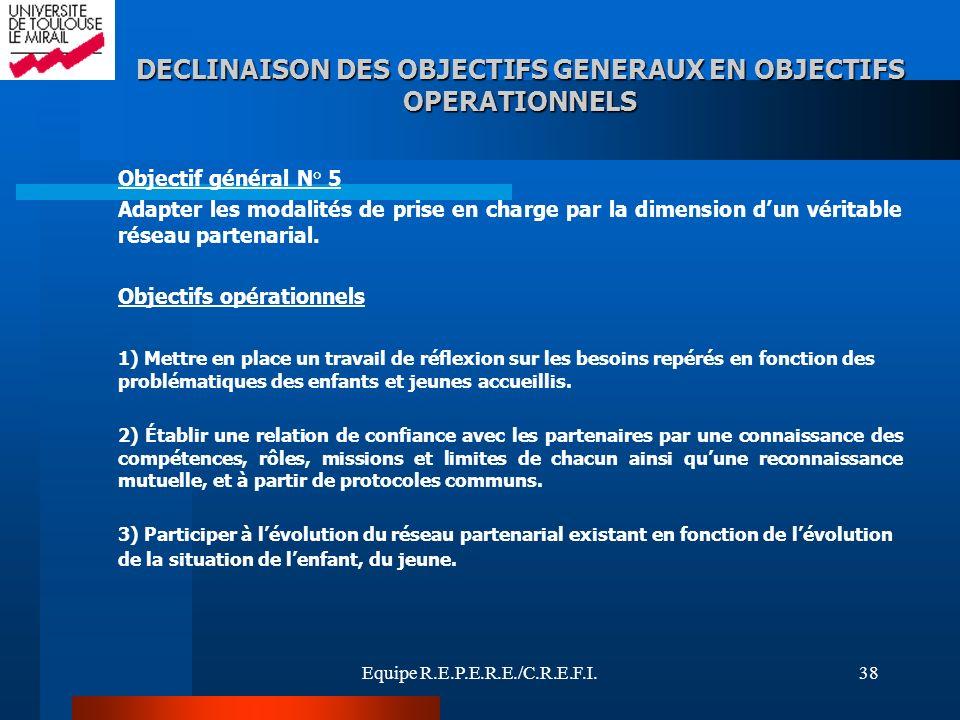 DECLINAISON DES OBJECTIFS GENERAUX EN OBJECTIFS OPERATIONNELS