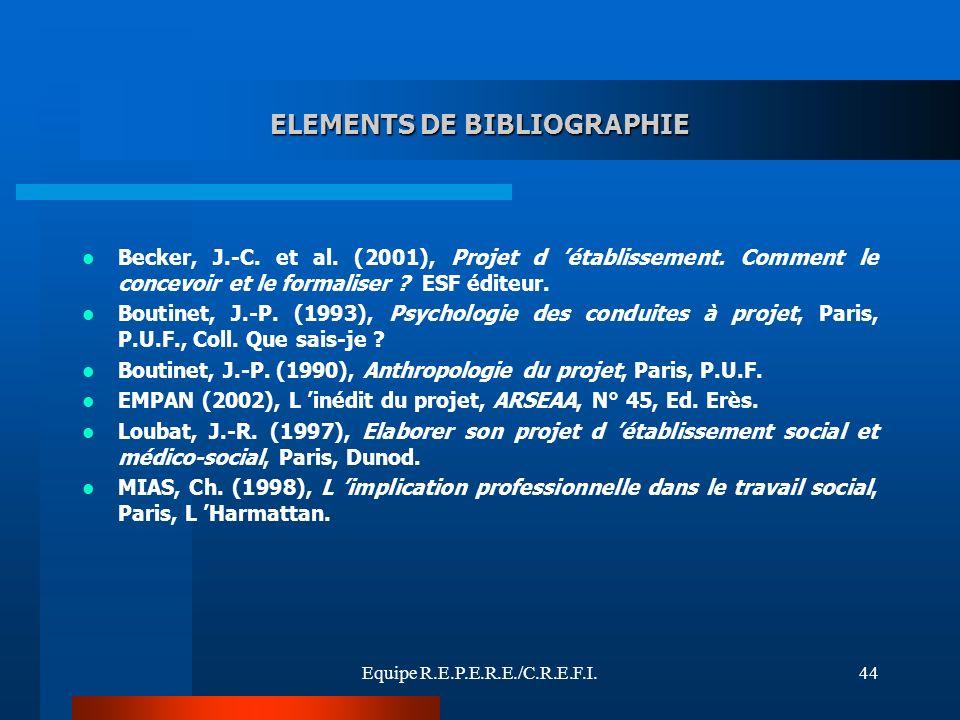 ELEMENTS DE BIBLIOGRAPHIE