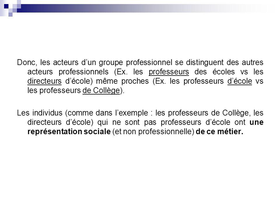 Donc, les acteurs d'un groupe professionnel se distinguent des autres acteurs professionnels (Ex. les professeurs des écoles vs les directeurs d'école) même proches (Ex. les professeurs d'école vs les professeurs de Collège).