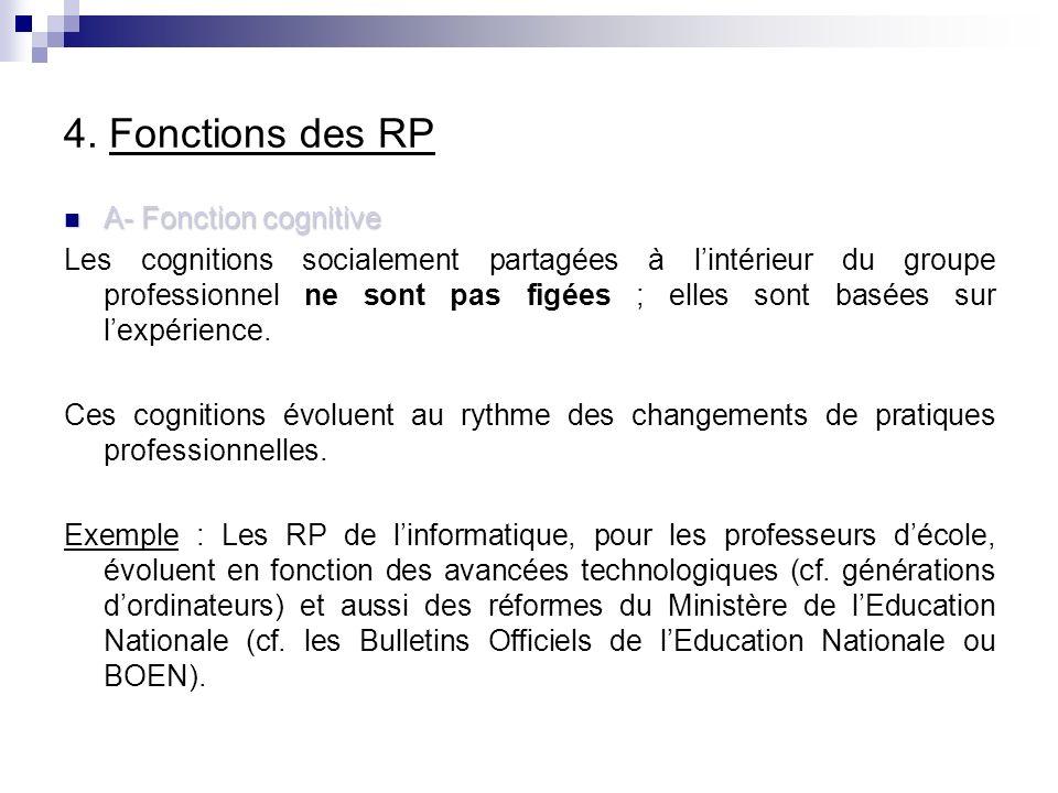 4. Fonctions des RP A- Fonction cognitive