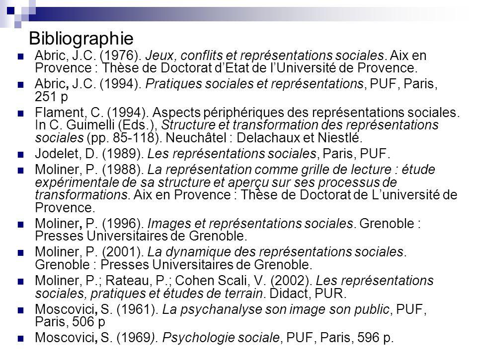 Bibliographie Abric, J.C. (1976). Jeux, conflits et représentations sociales. Aix en Provence : Thèse de Doctorat d'Etat de l'Université de Provence.