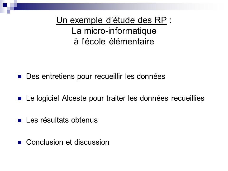 Un exemple d'étude des RP : La micro-informatique à l'école élémentaire