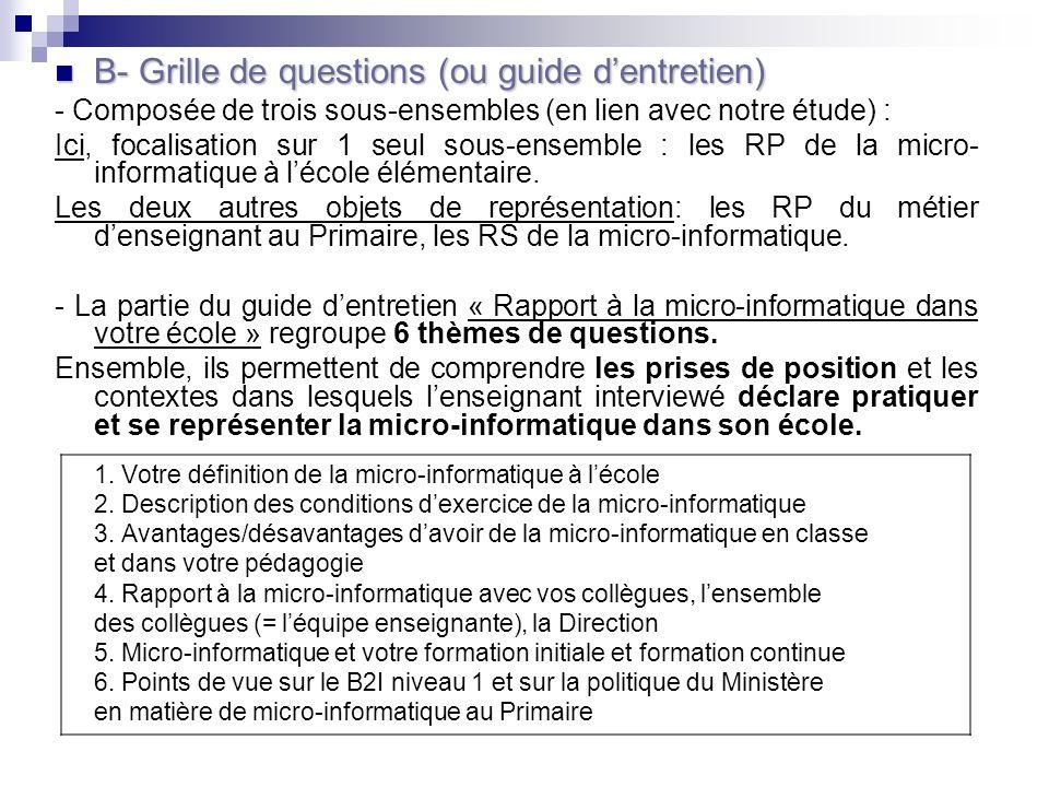 B- Grille de questions (ou guide d'entretien)