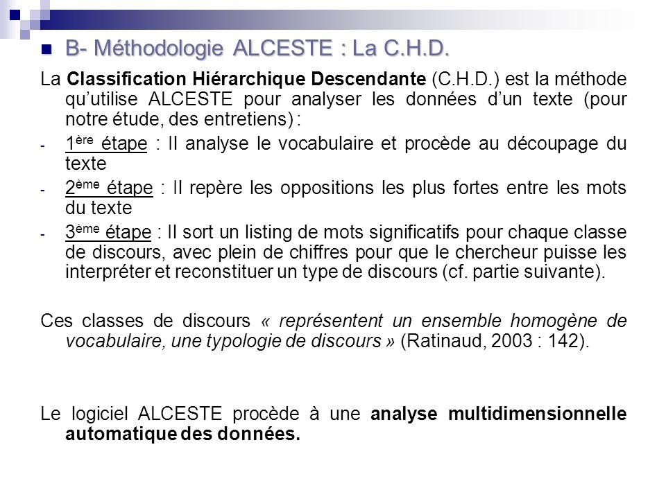 B- Méthodologie ALCESTE : La C.H.D.