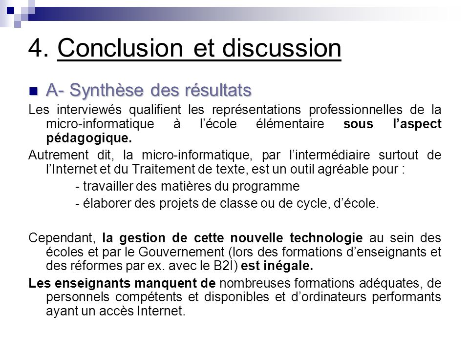 4. Conclusion et discussion