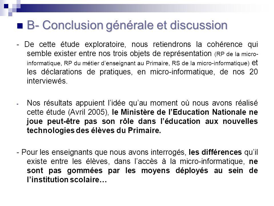 B- Conclusion générale et discussion