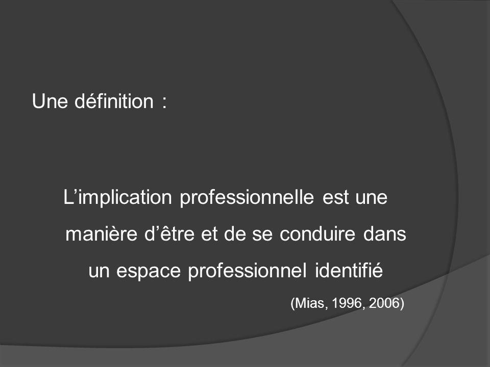 Une définition : L'implication professionnelle est une manière d'être et de se conduire dans un espace professionnel identifié.