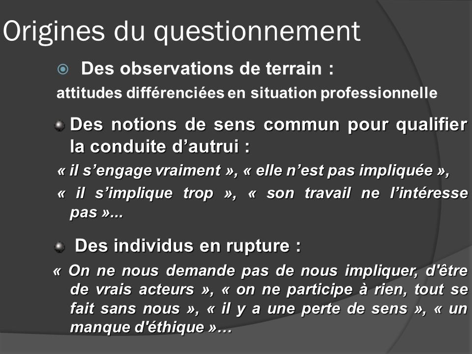 Origines du questionnement