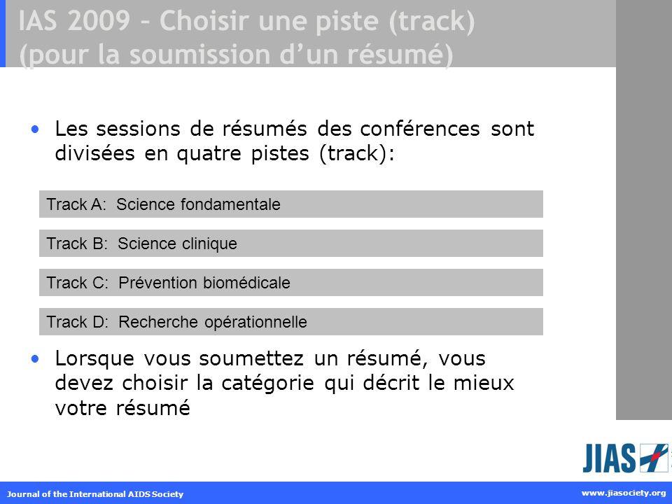 IAS 2009 – Choisir une piste (track) (pour la soumission d'un résumé)