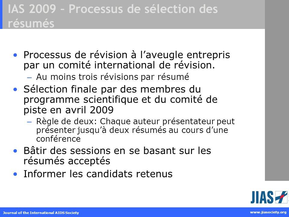 IAS 2009 – Processus de sélection des résumés