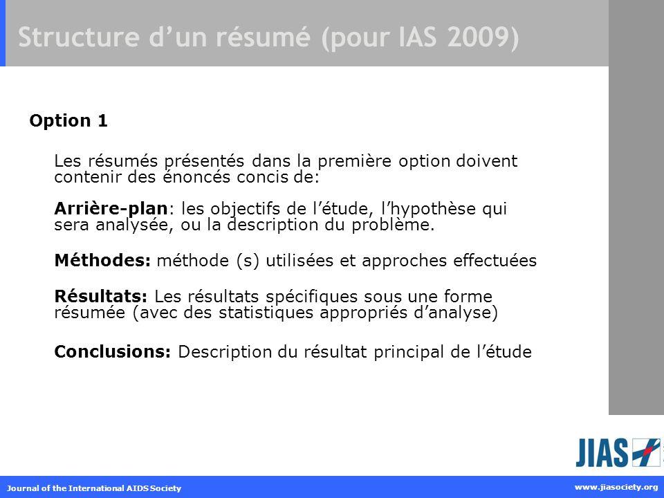 Structure d'un résumé (pour IAS 2009)