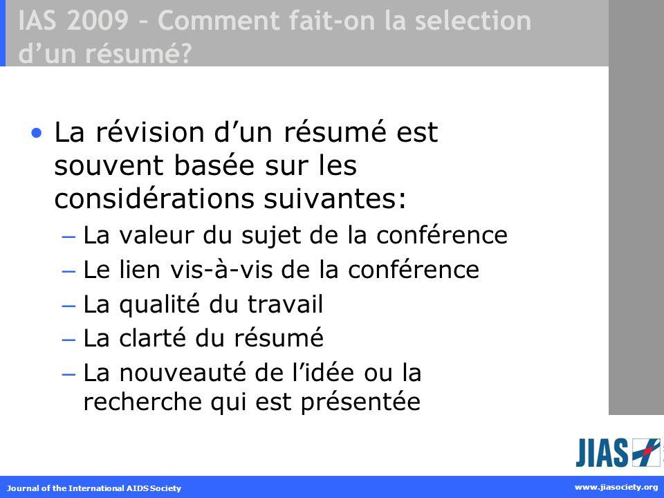 IAS 2009 – Comment fait-on la selection d'un résumé