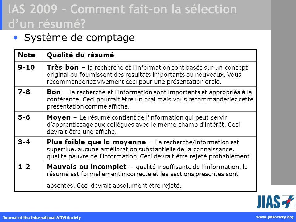 IAS 2009 – Comment fait-on la sélection d'un résumé