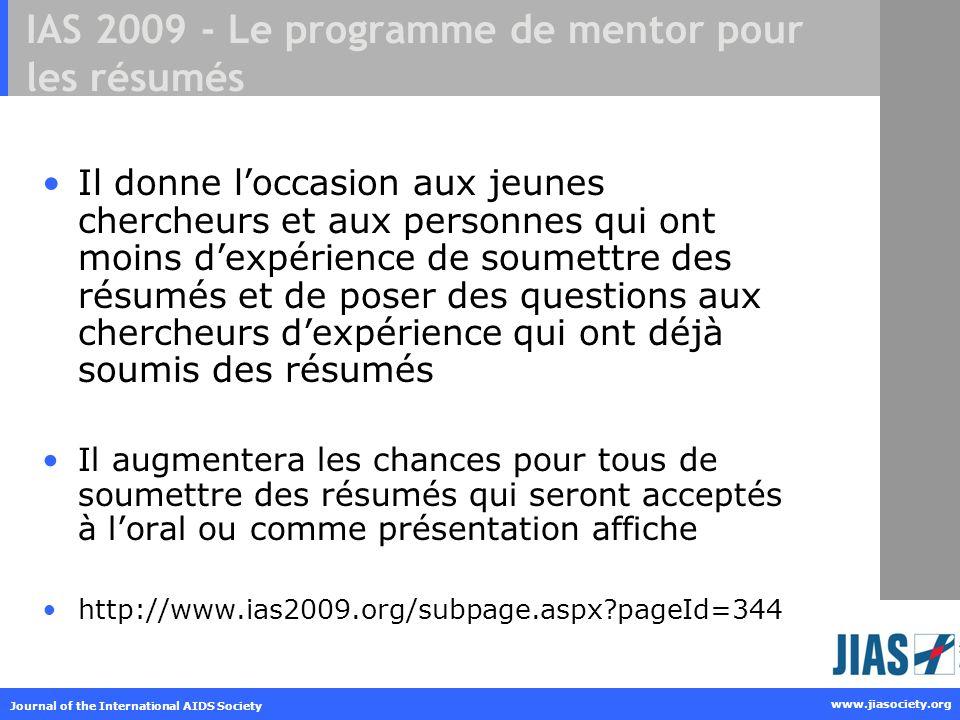 IAS 2009 - Le programme de mentor pour les résumés