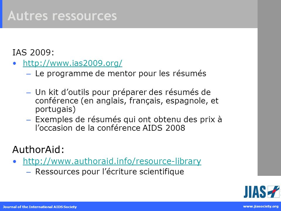 Autres ressources AuthorAid: IAS 2009: