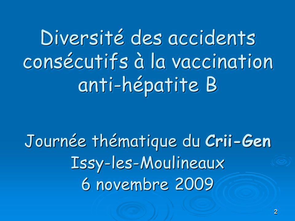 Diversité des accidents consécutifs à la vaccination anti-hépatite B