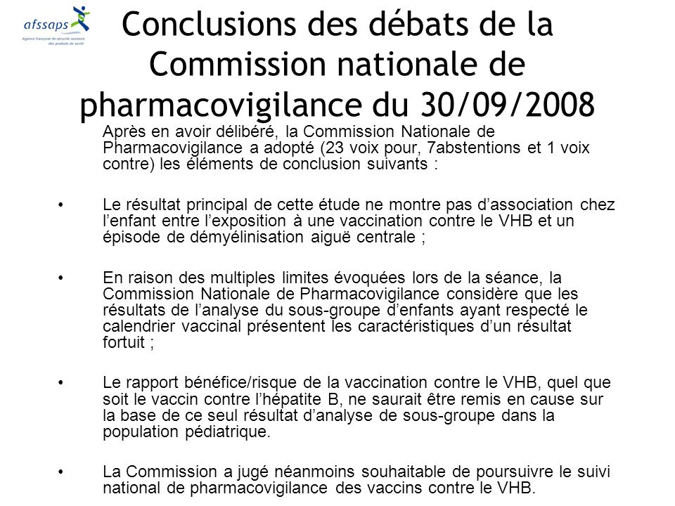 Conclusions des débats de la Commission nationale de pharmacovigilance du 30/09/2008