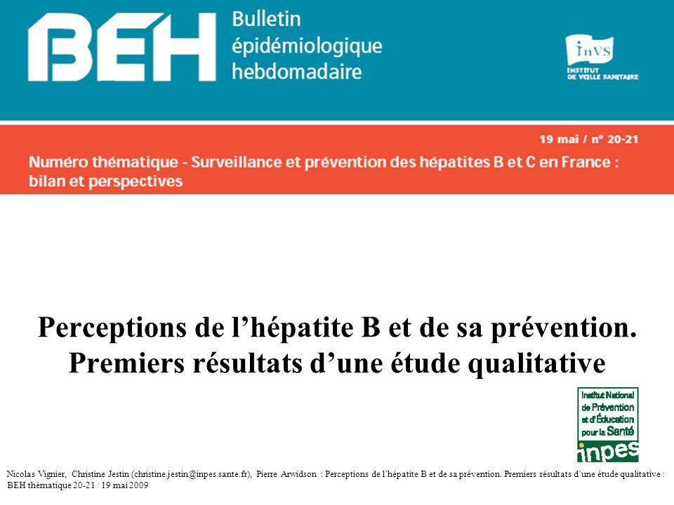 Perceptions de l'hépatite B et de sa prévention