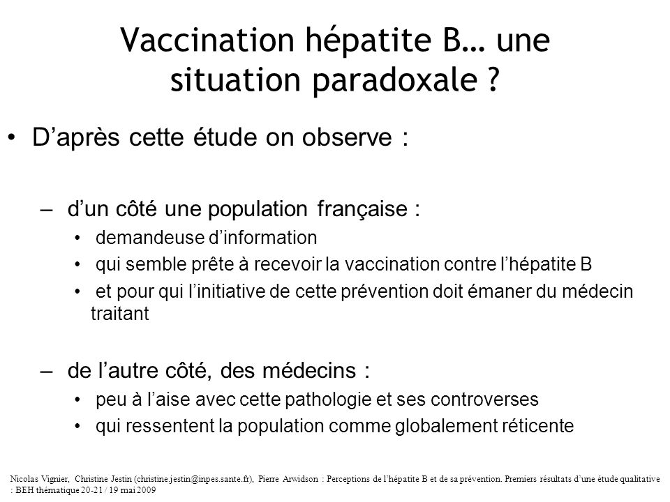 Vaccination hépatite B… une situation paradoxale
