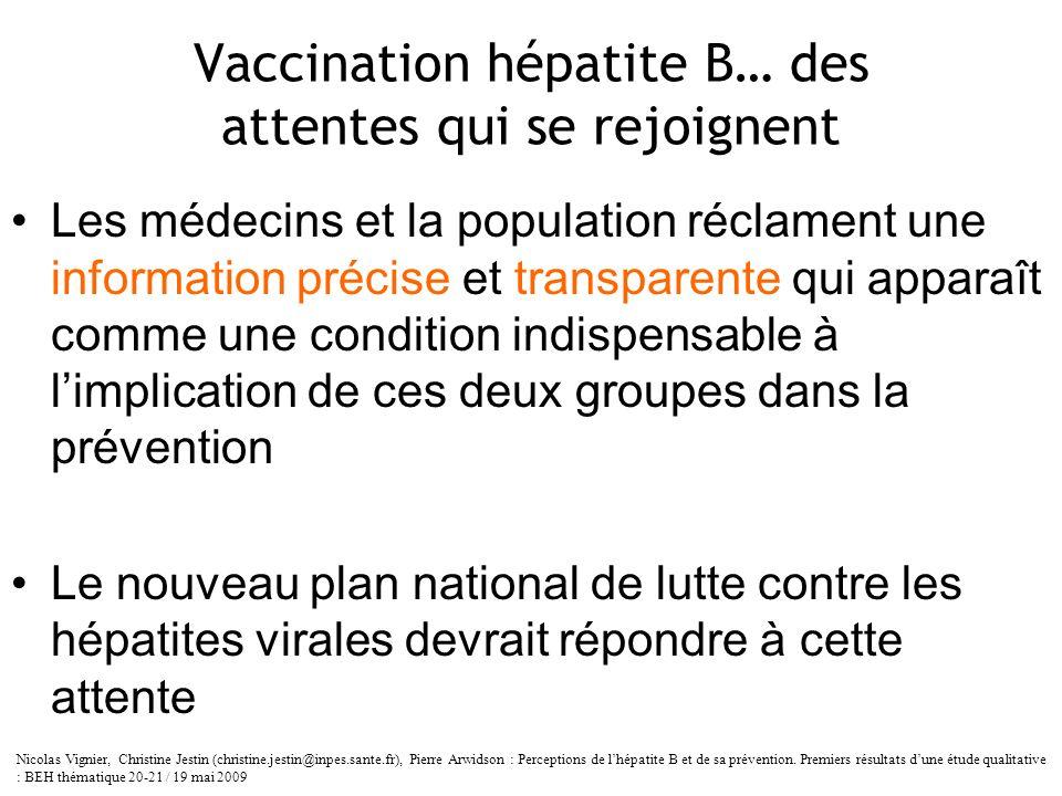 Vaccination hépatite B… des attentes qui se rejoignent