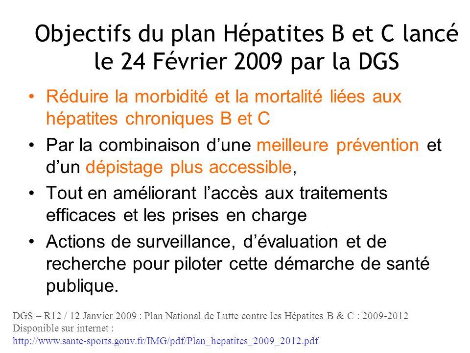 Objectifs du plan Hépatites B et C lancé le 24 Février 2009 par la DGS