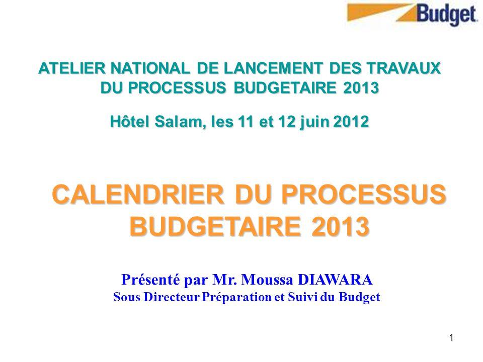 CALENDRIER DU PROCESSUS BUDGETAIRE 2013