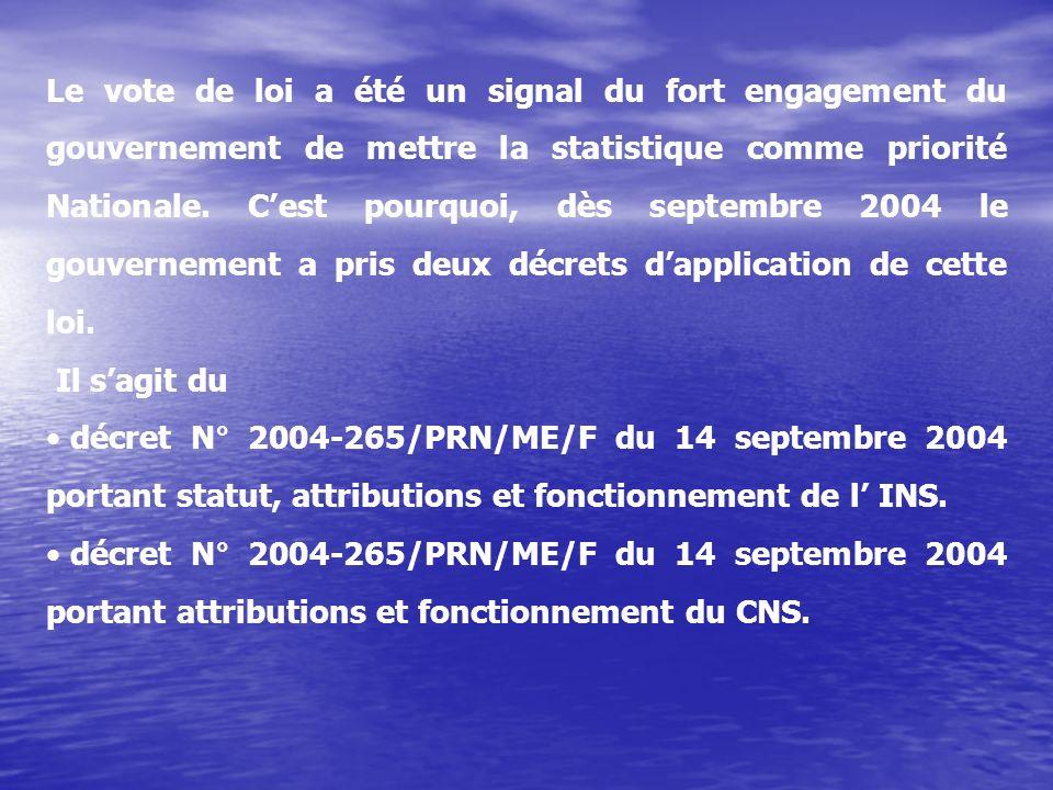 Le vote de loi a été un signal du fort engagement du gouvernement de mettre la statistique comme priorité Nationale. C'est pourquoi, dès septembre 2004 le gouvernement a pris deux décrets d'application de cette loi.