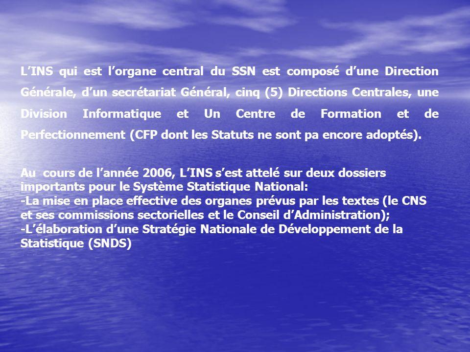 L'INS qui est l'organe central du SSN est composé d'une Direction Générale, d'un secrétariat Général, cinq (5) Directions Centrales, une Division Informatique et Un Centre de Formation et de Perfectionnement (CFP dont les Statuts ne sont pa encore adoptés).