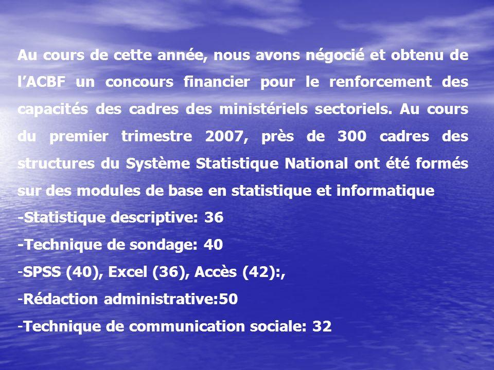 Au cours de cette année, nous avons négocié et obtenu de l'ACBF un concours financier pour le renforcement des capacités des cadres des ministériels sectoriels. Au cours du premier trimestre 2007, près de 300 cadres des structures du Système Statistique National ont été formés sur des modules de base en statistique et informatique