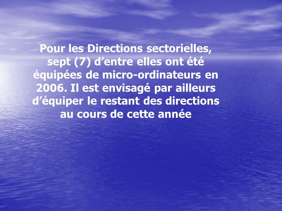 Pour les Directions sectorielles, sept (7) d'entre elles ont été équipées de micro-ordinateurs en 2006.