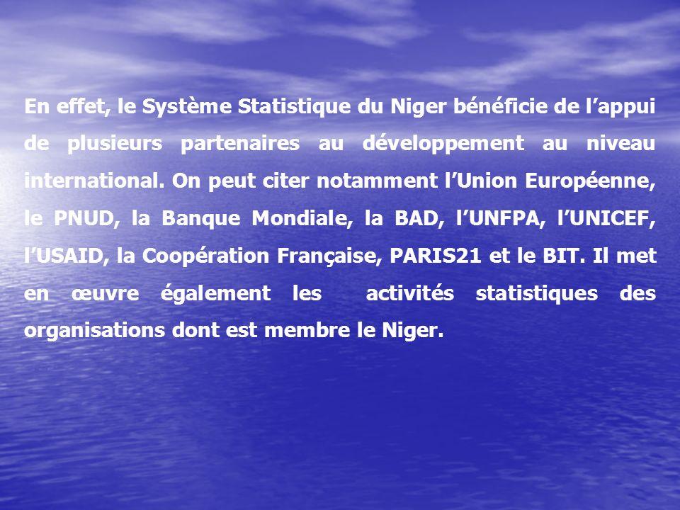 En effet, le Système Statistique du Niger bénéficie de l'appui de plusieurs partenaires au développement au niveau international. On peut citer notamment l'Union Européenne, le PNUD, la Banque Mondiale, la BAD, l'UNFPA, l'UNICEF, l'USAID, la Coopération Française, PARIS21 et le BIT. Il met en œuvre également les activités statistiques des organisations dont est membre le Niger.
