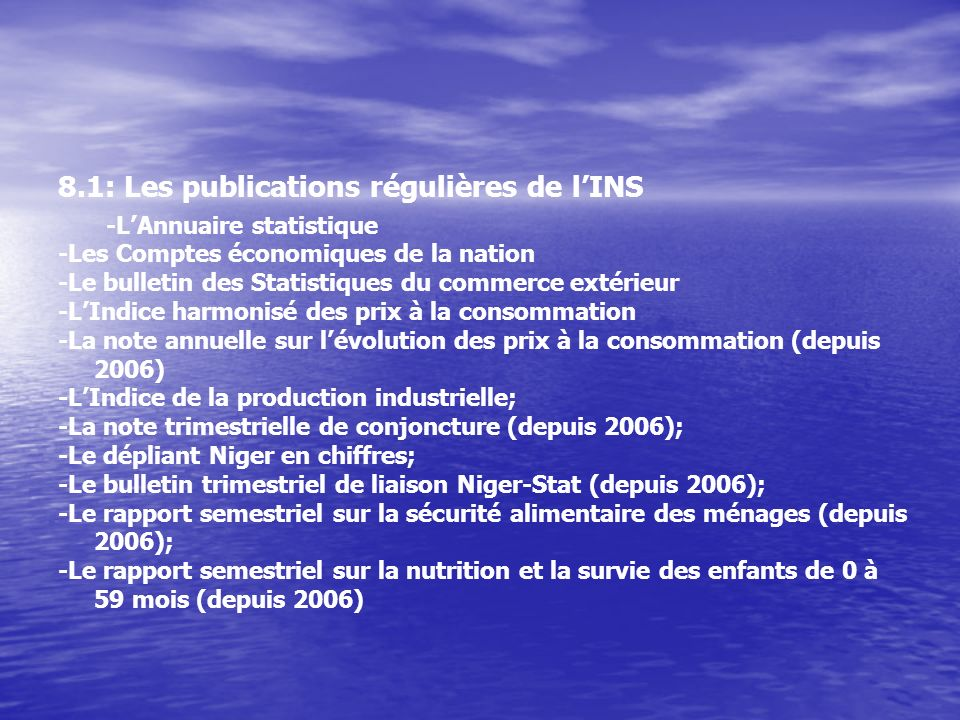 8.1: Les publications régulières de l'INS