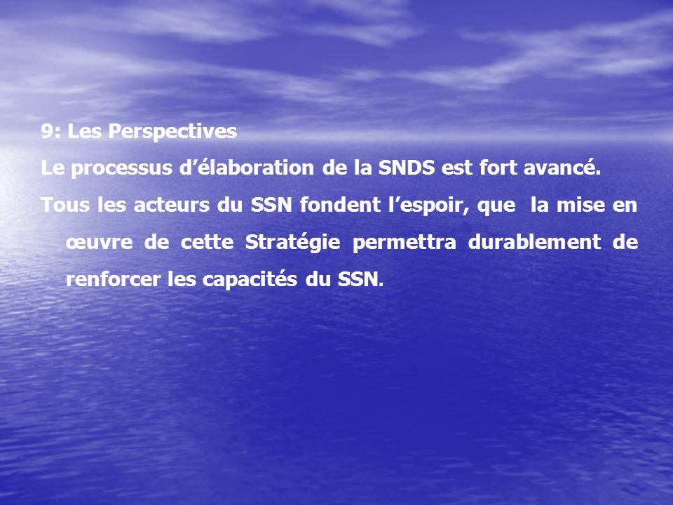 Le processus d'élaboration de la SNDS est fort avancé.