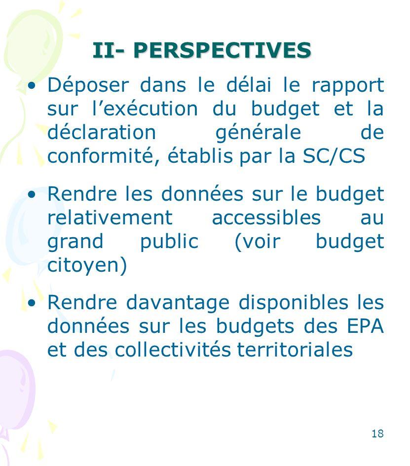 II- PERSPECTIVES Déposer dans le délai le rapport sur l'exécution du budget et la déclaration générale de conformité, établis par la SC/CS.