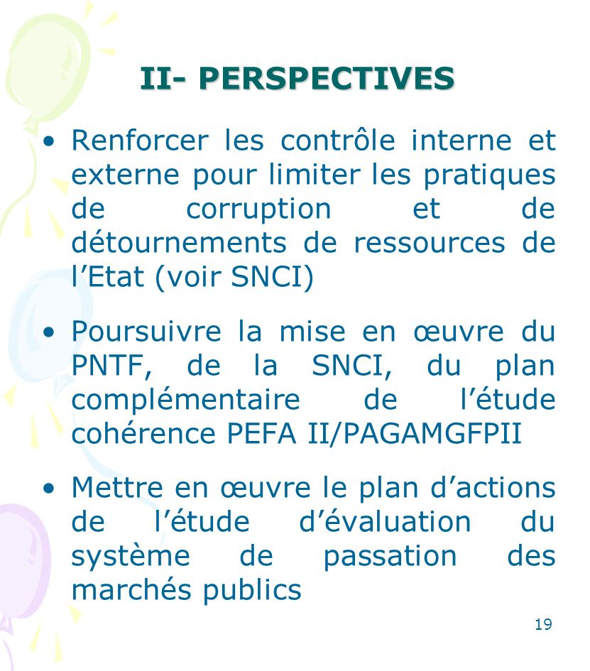 II- PERSPECTIVES