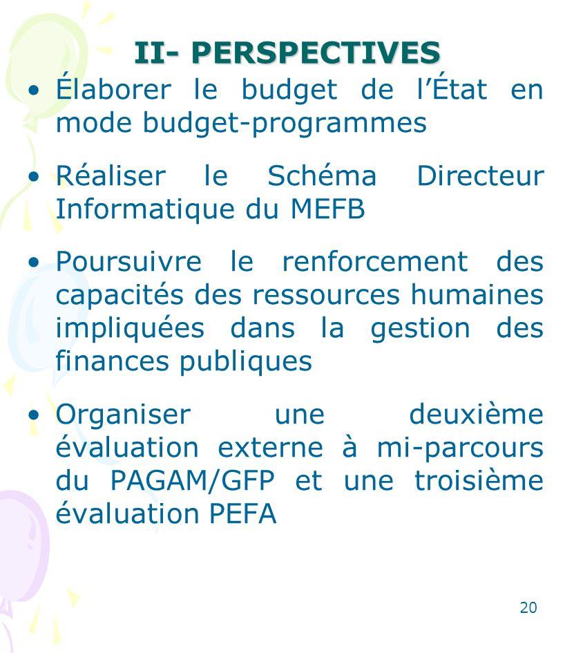 II- PERSPECTIVES Élaborer le budget de l'État en mode budget-programmes. Réaliser le Schéma Directeur Informatique du MEFB.