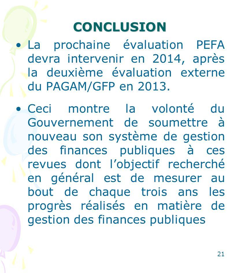 CONCLUSION La prochaine évaluation PEFA devra intervenir en 2014, après la deuxième évaluation externe du PAGAM/GFP en 2013.