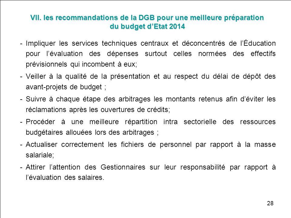 VII. les recommandations de la DGB pour une meilleure préparation du budget d'Etat 2014