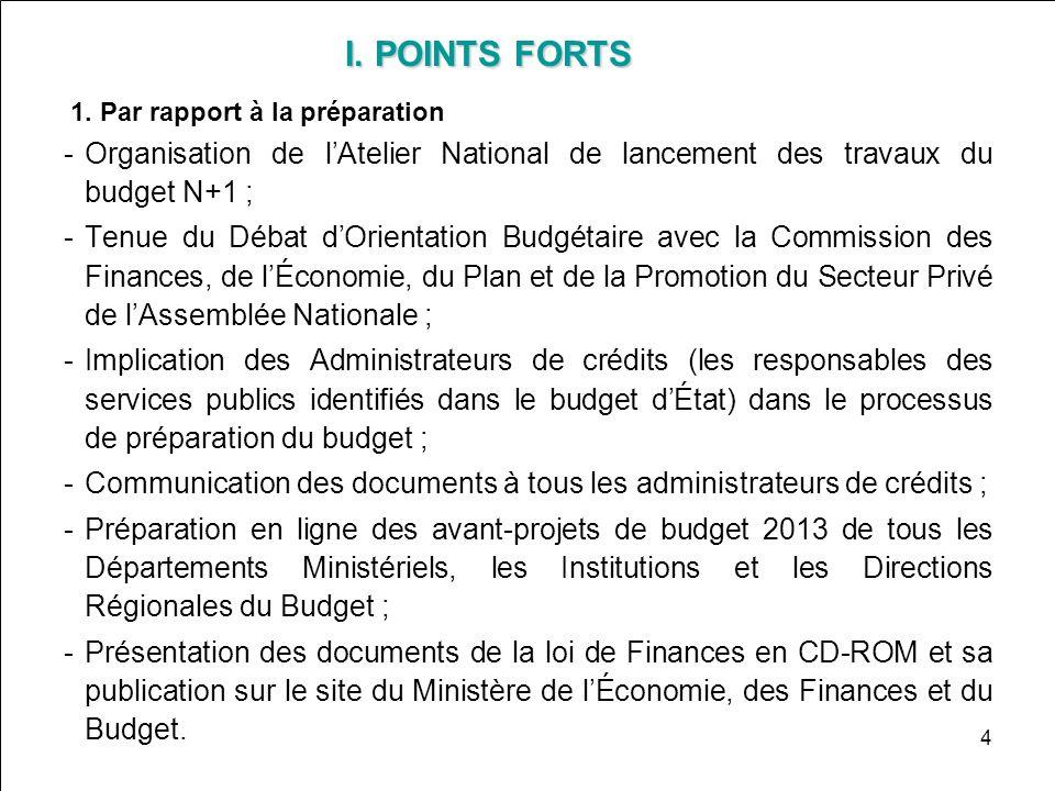 I. POINTS FORTS1. Par rapport à la préparation. Organisation de l'Atelier National de lancement des travaux du budget N+1 ;