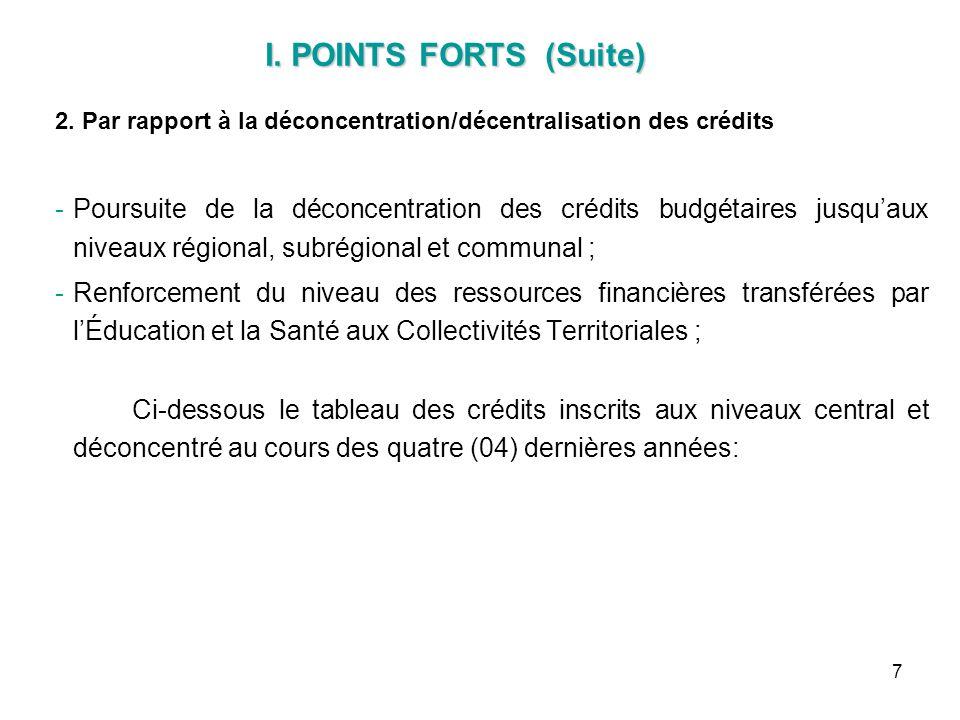 I. POINTS FORTS (Suite) 2. Par rapport à la déconcentration/décentralisation des crédits.