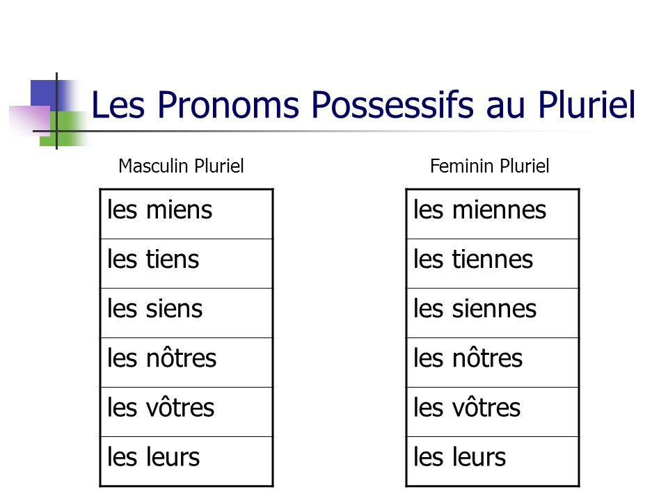 Les Pronoms Possessifs au Pluriel