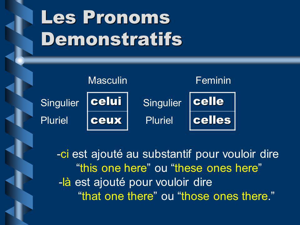 Les Pronoms Demonstratifs