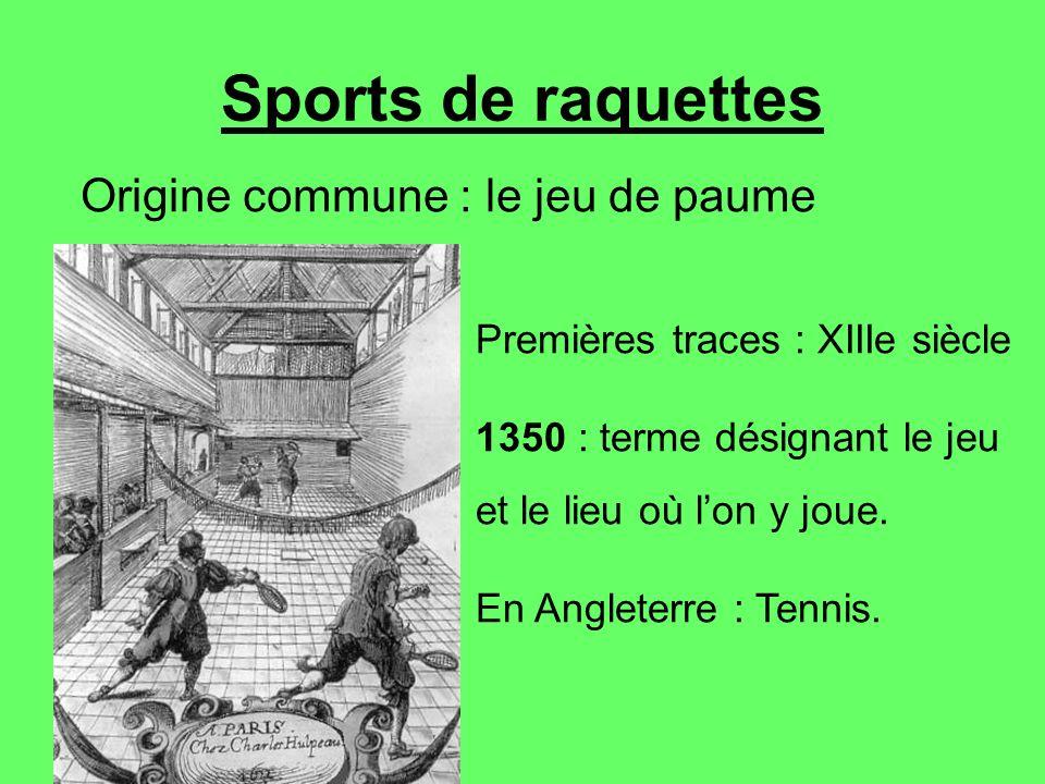 Sports de raquettes Origine commune : le jeu de paume