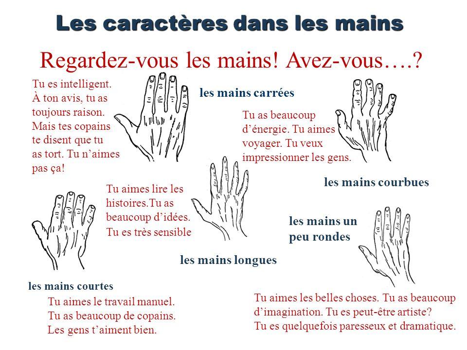Les caractères dans les mains