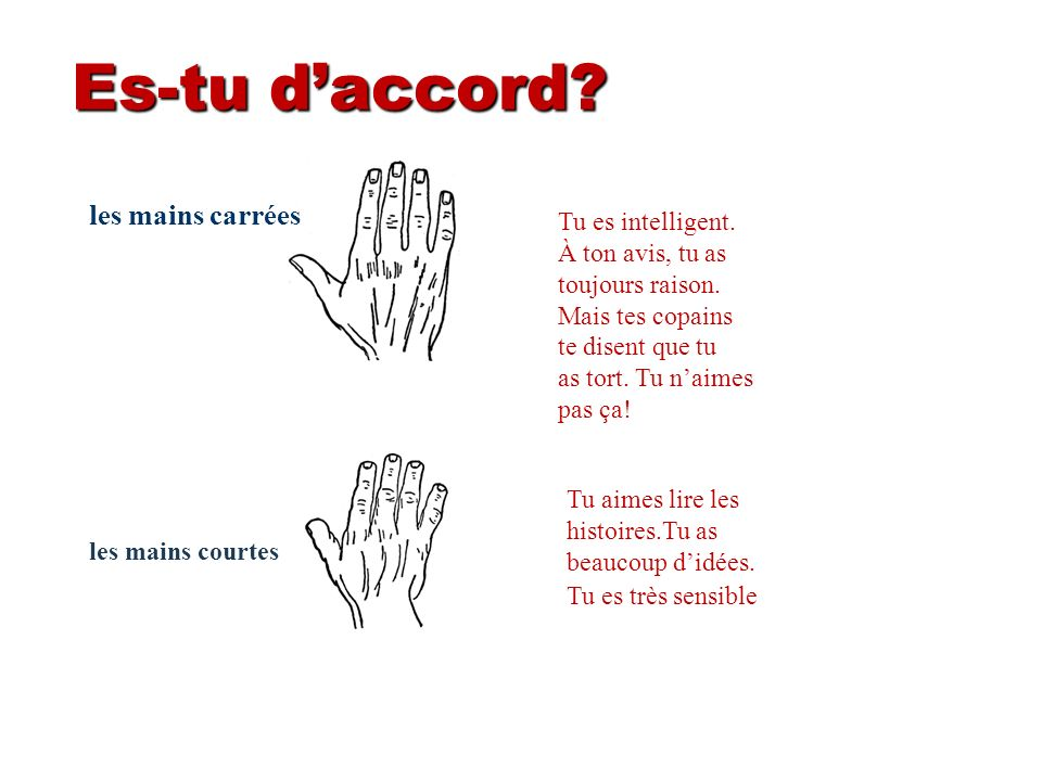 Es-tu d'accord les mains carrées Tu es intelligent. À ton avis, tu as