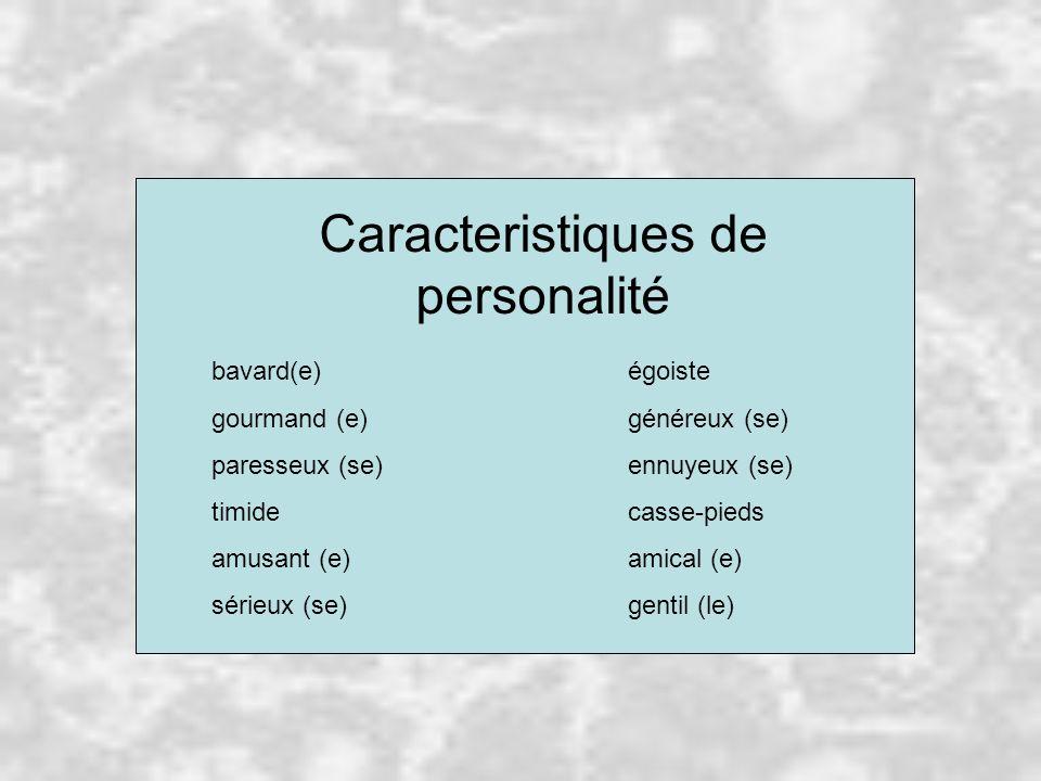 Caracteristiques de personalité