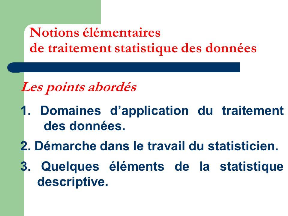 Notions élémentaires de traitement statistique des données